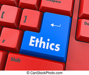 ethics - A keyboard with a key reading ethics, raster