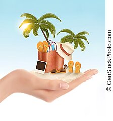 Tropical seaside with palms, a beach chair and a suitcase. Vacation  background.