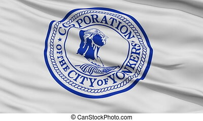 Closeup Waving National Flag of Yonkers City, New York -...