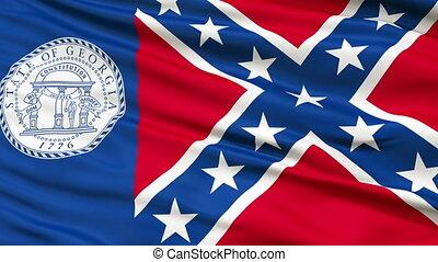 Closeup Waving National Flag of Trenton City, Georgia -...