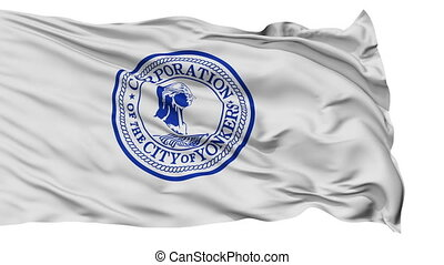 Isolated Waving National Flag of Yonkers City, New York -...