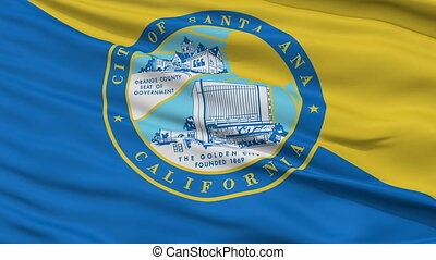 Closeup Waving National Flag of Santa Ana City, California -...