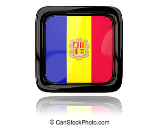 Square icon with flag of andorra 3D illustration