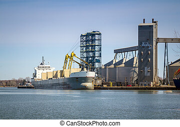 Sorel-Tracy industrial port - Ship at Sorel-Tracy industrial...