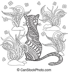 hand drawn decorated cartoon cat with herb - Hand drawn...