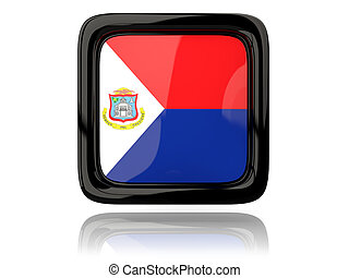 Square icon with flag of sint maarten 3D illustration