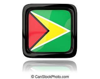 Square icon with flag of guyana 3D illustration