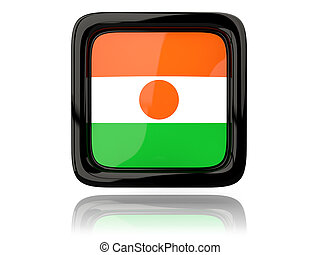 Square icon with flag of niger 3D illustration