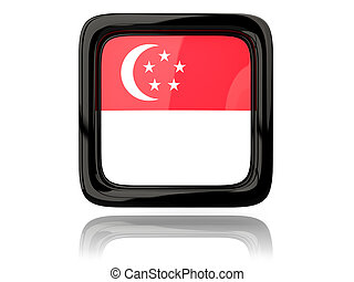 Square icon with flag of singapore 3D illustration