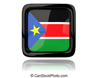 Square icon with flag of south sudan. 3D illustration