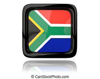 Square icon with flag of south africa 3D illustration