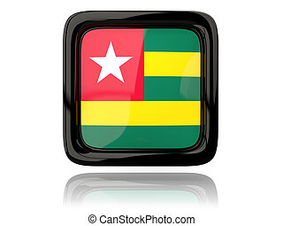 Square icon with flag of togo 3D illustration