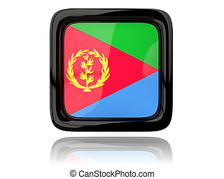 Square icon with flag of eritrea 3D illustration