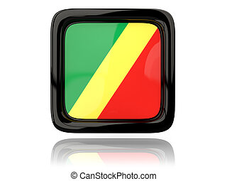 Square icon with flag of republic of the congo 3D...