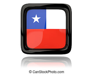 Square icon with flag of chile 3D illustration
