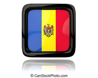 Square icon with flag of moldova 3D illustration