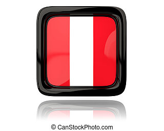 Square icon with flag of peru 3D illustration