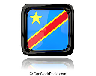 Square icon with flag of democratic republic of the congo 3D...
