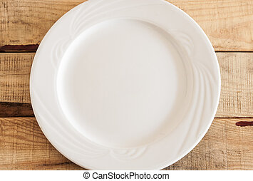 empty plate - Clean plate with napkin on wooden background