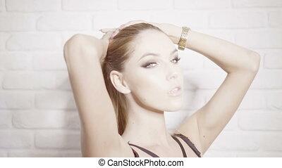sensual brunette woman in bikini