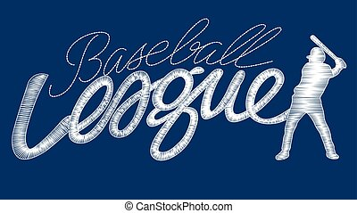 White baseball league embroidery stitching text with player...