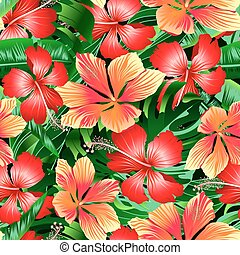 Tropical orange and red variegated hibiscus flowers seamless...