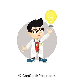 Doctor idea with light bulb