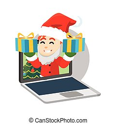 Santa clause boy giving gift from laptop