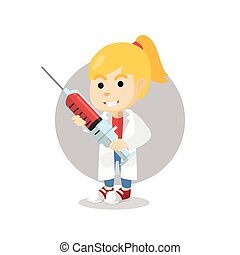 Girl using doctor costume holding syringe