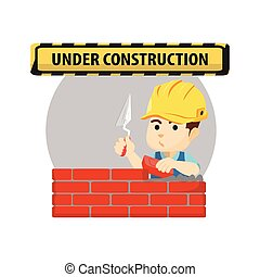 boy using construction worker custom