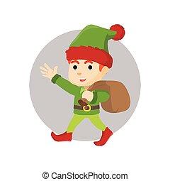 Cristmas elf carrying gift