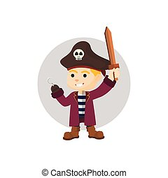 Boy using pirate costume holding sw