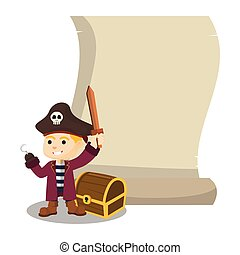 Boy using pirate costume with giant