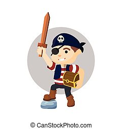Boy using pirate costume holding tr