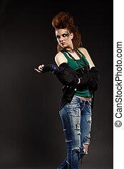 glam punk girl - portrait of glam punk redhead girl