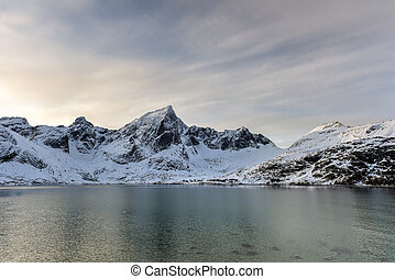 Flakstadoya, Lofoten Islands, Norway - Mountains in...