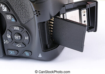 Insert SD Card - Closeup shot of Inserting the SD card into...