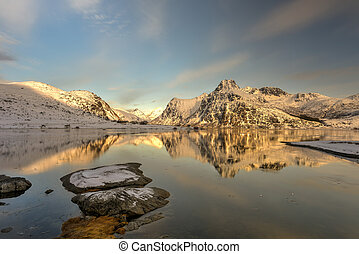 Flakstadoya, Lofoten Islands, Norway - Mountains reflected...