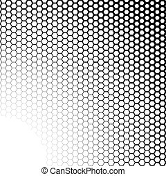 Background with gradient of black and white hexagons -...