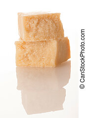 Parmesan cheese isolated over white background