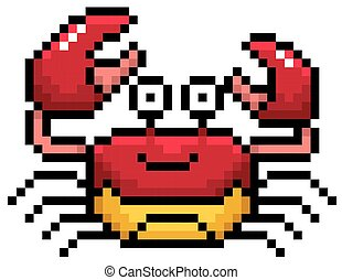 Crab - Vector illustration of Cartoon Crab - Pixel design