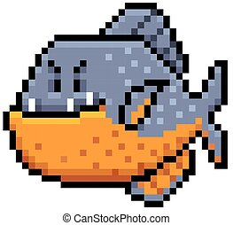 Piranha - Vector illustration of angry fish cartoon - Pixel...