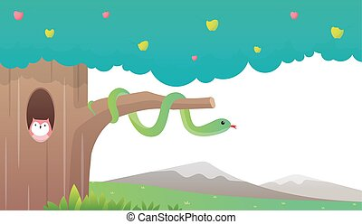 snake on apple tree