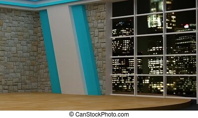 News TV Studio Set- 82 - News TV Studio Set 82 - Virtual...