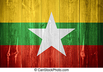 flag of Burma, Mynamar - flag of Burma or Burmese banner on...