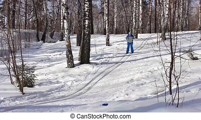 People cross country skiing in the snow on a spring morning
