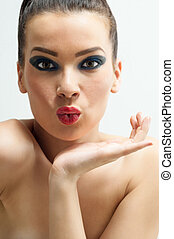 Natural Beauty - Beauty portrait young woman holding her...