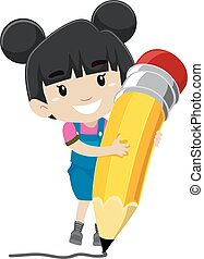 Girl holding a Pencil - Vector Illustration of a Girl...