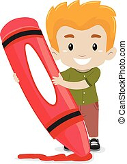 Boy holding a Crayon - Vector illustration of a Boy holding...