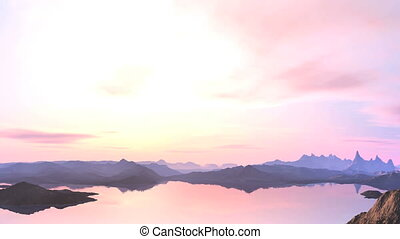 Pink sunset - In the bright hazy sky low clouds. The color...